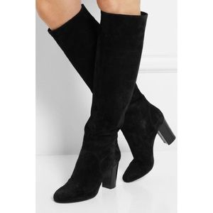 Delman High Knee Black Suede Leather Boots size 8